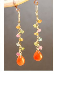 Apatite, pink tourmaline, carnelian, and peridot with carnelian, about 2.   Available in 14k gold filled & sterling silver, 14k rose gold