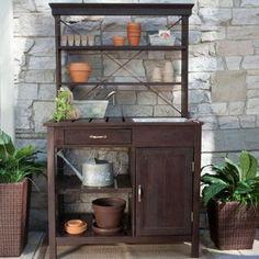 Irregular Rustic Garden Potting Bench - Dark Brown - Modern - Bedroom Benches - by Hayneedle