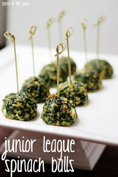 oooooo! these are so good!  make these for your next party and your guests will thank you! Ingredients:2 packages of spinach (frozen chopped)6 large eggs1 stick of butter softened2 cups herbed stuf…