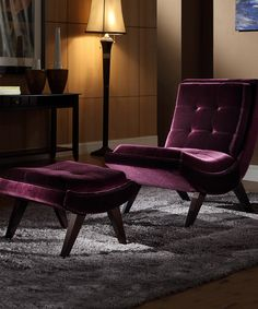 This Cordelia Velvet Occasional Chair & Ottoman by HomeBelle is perfect! #zulilyfinds