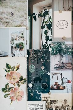 Paper collage in blush pink tones