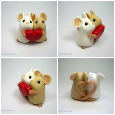 Love Mouse Couple - 3cm tall and 3cm wide. (£28)