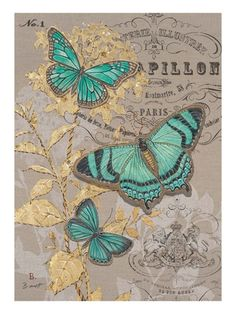 Embroidery On Paper Art Print: Linen Trio Gold Art Print by Chad Barrett by Chad Barrett : - Vintage Cards, Vintage Paper, Vintage Images, Vintage Pictures, Paper Butterflies, Butterfly Cards, Printable Butterfly, Butterfly Template, Flower Template