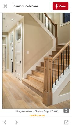 "Benjamin Moore ""Bleeker Beige"" for paint. Love the staircase too! Villa Plan, Bleeker Beige, Halls, Hobby Room, Hobby Lobby, Design Case, Stairways, My Dream Home, Home Projects"