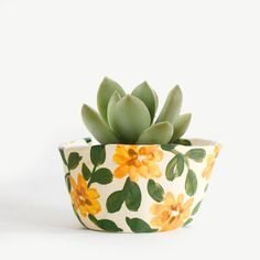 Image of Mini Sunflower Planter Painted Plant Pots, Painted Flower Pots, Mini Sunflowers, Flower Pot Design, Pottery Painting Designs, Ceramic Painting, Painting Clay Pots, Ceramic Planters, Hand Painted Ceramics
