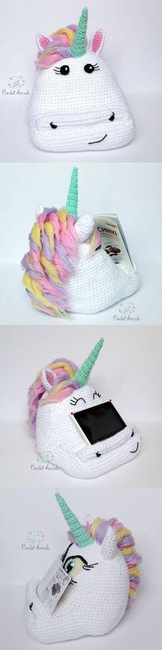 Cute Crochet Unicorn Tablet Book Holder Pillow Pattern.