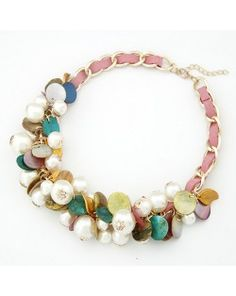 Korean Fashion Seashell and Pearls Assorted Weaving Elements Necklace - Pink