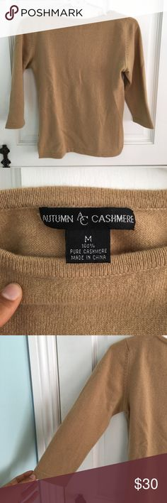 Cashmere Sweater 100% cashmere sweater with 3/4 length sleeves. Boat neckline. In great condition! 💛 Vintage Sweaters