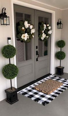 Grey Front Doors, Double Front Doors, Front Door Entrance, Entrance Decor, Front Door Colors, Front Entrances, Front Door Decor, Door Entry, Entrance Ideas