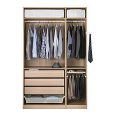 "PAX Wardrobe - - IKEAhttp://www.ikea.com/us/en/catalog/products/S19029211/ Product dimensions Width: 59 "" Depth: 23 3/4 "" Height: 93 1/8 """