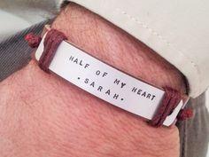 Personalized Leather Bracelet Mens Bracelet Womens Bracelet Latitude Longitude…