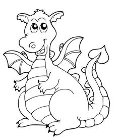 Cartoon Dragon Coloring Pages For Kids - ScribbleFun Cute Coloring Pages, Printable Coloring Pages, Coloring Pages For Kids, Coloring Sheets, Adult Coloring, Coloring Books, Cartoon Dragon, Dragon Coloring Page, Cute Dragons