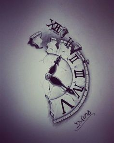 I want something like this without the broke piece at the top with 'time is nothing' going along the jagged edge on my forearm is part of Time tattoos - Neue Tattoos, Bild Tattoos, Body Art Tattoos, Sleeve Tattoos, Tatoos, Clock Tattoo Design, Tattoo Design Drawings, Tattoo Sketches, Tattoo Designs