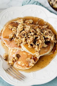 These pancakes have a hint of spice and are covered in a glorious maple walnut topping. Perfect for any fall breakfast!