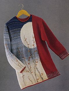 Knitting Patterns Jacket Ravelry: Hiroshige-Inspired Pullover pattern by Deborah Newton Intarsia Knitting, Hand Knitting, Knitting Patterns Free, Knit Patterns, Jacket Pattern, Pulls, Knitting Projects, Knit Crochet, Free Crochet