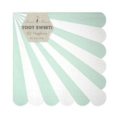 A stylish dessert napkin with a radial mint and white stripe; finished with a scalloped edge. Qty: 20 small napkins Napkin size: 5 x 5 inches (folded) Party Napkins, Party Plates, Dinner Napkins, Napkins Set, Dinner Plates, Food Packaging, Plate Sets, Mint, Stripes