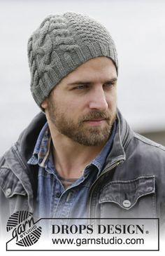 "Finnley's Hat - Knitted DROPS hat for men with cables and texture in ""Lima"". - Free pattern by DROPS Design"