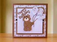 Birthday Card - Cottage Cutz Teddybear Die. For more of my cards please visit CraftyCardStudio on Etsy.com.