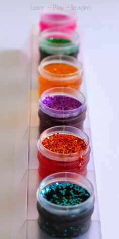3 ingredient recipe for SPARKLY paints that take 2 minutes to prep!