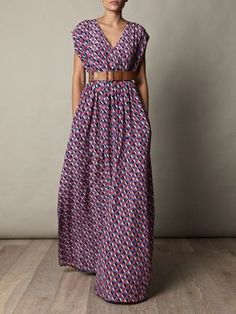 belted maxi dress with geometric print.