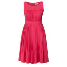 Orla Kiely: Sleeveless dress in Fuschia. Dress has pleated feature on bodice and half pleated skirt. Zip at back to fasten. Fully lined.    Length: 36.4in