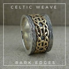 Stunning 11 mm wide Celtic Weave Wedding Ring.  Sterling Silver & 10K Yellow Gold.  Made by Keith Jack.
