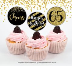 65th Birthday Party Sparkling Age 65 Black /& Gold Flag Bunting Banner Decoration