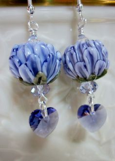 Violet Chrysanthemum Flower Earrings- Artisan Lampwork Glass with Swarovski Crystals and Sterling Wires, Unique, One of a Kind, SRAJD, OOAK