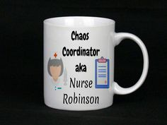 The perfect gift for a nurse! Great gift for her or gift for him, We can totally personalise these including the colours of the nurses (skin tones, hair, accessories), simply tell us your preference when you order Nurse Mugs, Nurse Gifts, Gifts For Him, Great Gifts, Chaos Coordinator, China Mugs, Nurses, Hair Accessories, Colours