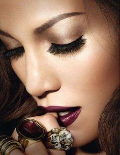 Wine lips, smoked eye; Glam makeup
