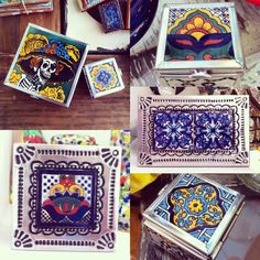 Punched tin keepsake boxes with talavera accents
