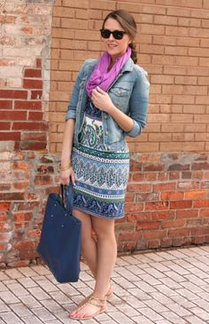 Shift + denim + infinity scarf = greatness |Penny Pincher Fashion: 3 Ways To Wear: Printed Shift