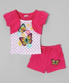 Loving this Real Love Hot Pink Butterfly Bolero Top & Shorts - Infant, Toddler & Girls on #zulily! #zulilyfinds