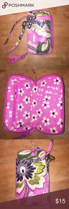 Vera Bradley Wristlet Vera Bradley Priscilla Pink used wristlet, there is a small stain on the back but other than that it's in good condition Vera Bradley Bags Clutches & Wristlets