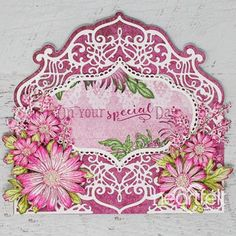 Garden Flowers Swirling In Pink Handmade Card - Bright Backgrounds Add To The Beauty And Intricacy In The Accent Dies. Look at It, And Make Your Own Heartfelt Creations Cards, Clear Glue, Bright Background, Foam Sheets, Fancy Fold Cards, Shaped Cards, Pink Paper, Penny Black, Flower Shape