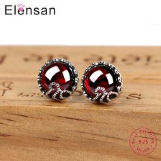 Elensan Flowers Sterling Silver Earrings Stub Inlaid with Precious Natural Chalcedony/Ruby Stones Green/Red for Woman. Yesterday's price: US $19.30 (15.98 EUR). Today's price: US $10.81 (8.95 EUR). Discount: 44%.