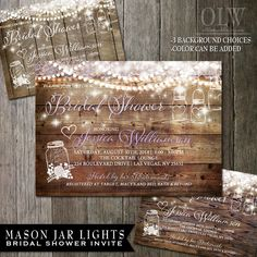 Mason Jar Bridal Shower Invitation  Rustic Wood by OddLotEmporium, $4.50