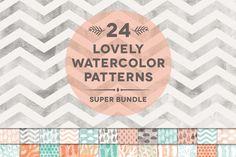 24 Watercolor Digital Pattern Bundle by Blixa 6 Studios on Creative Market
