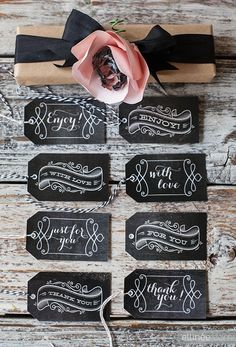 Chalkboard tags make. Printable Chalkboard Gift Tags for Any Occasion. Diy Gifts, Handmade Gifts, Chalkboard Tags, Vintage Chalkboard, Chalkboard Wedding, Do It Yourself Wedding, Chalk It Up, Ideias Diy, Gift Tags Printable