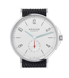 Nomos Glashütte's Ahoi is water-resistant to 200 meters. The watch comes in a 40-mm case with a waterproof black fabric strap. The Ahoi, Nomos's first divers'-style watch, retails for $3,940.