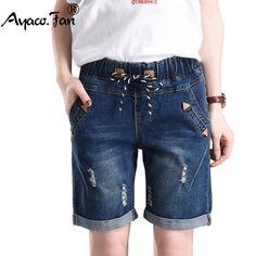 b2ea52c1446 2018 Summer Fashion Street Women s Drawstring Elastic Waist Short Jeans Plus  Size Half Denim Cuffs Trousers
