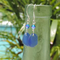 From The Vessel Earrings With Rare Caribbean Cobalt Blue Sea Glass | Out Of The Blue Sea Glass Jewelry