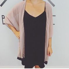 How cute is our tan with black lace kimono over this sweet little black dress ! Black Lace Kimono, Fans, Magic, Sweet, Pretty, Clothing, Dresses, Fashion, Candy