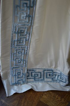 Silk curtain (Beacon Hill) with Greek key trim by Samuel and Sons Dining Room Drapes, Greek Plays, Curtain Trim, Samuel And Sons, Silk Curtains, Enchanted Home, Window Dressings, Home Decor Inspiration, Decor Ideas