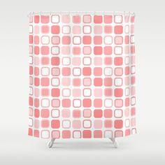 Pink #Retro Squares Design #Shower #Curtain