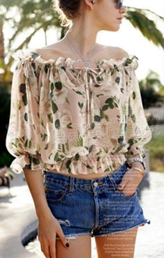 Super Cute Leaf Print Half Sleeves Off-Shoulder Chiffon Blouse diy inspiration Pretty Outfits, Cute Outfits, Altered Couture, Kinds Of Clothes, Ethical Fashion, Half Sleeves, Couture Fashion, Spring Summer Fashion, Dress To Impress