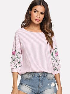 Sheinside Pink Summer Tops For Women 2018 Clothes Flower Print Lantern Sleeve Striped Blouse Beach Ladies Shirts Fashion Blouses Color pink Size XS Half Sleeves, Shirt Sleeves, Outfits Con Camisa, Spring Shirts, Summer Tops, Pink Summer, Blouse Styles, Fashion Prints, Shirt Blouses