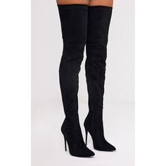 Emmi Black Faux Suede Extreme Thigh High Heeled Boots ($59) ❤ liked on Polyvore featuring shoes, boots, black, black heeled boots, black stilettos, stiletto boots, black pointed toe boots and faux suede over the knee boots