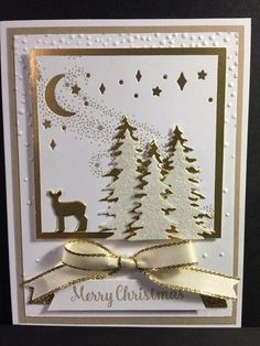 """Carols of Christmas, Card Front Builders Thinlits, Gold Foil, .Dazzling Diamonds Glimmer Paper, Triple Banner punch, Gold 3/8"""" Metallic-Edge Ribbon, Star of Light"""
