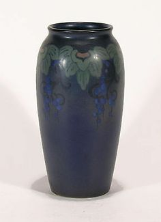 "Rookwood Pottery 11"" Stylized Floral Vellum Arts & Crafts matte blue L. Epply"